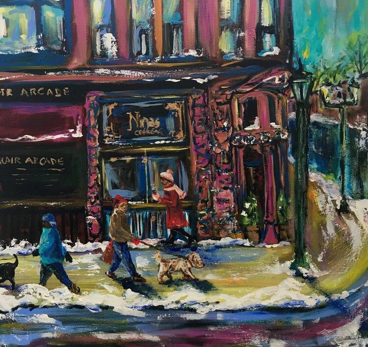 """Nina's Coffeeshop"" by Amy Clark - Acrylic 30 x 30 $525"